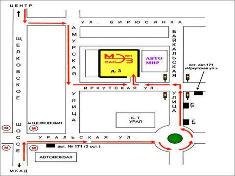 Схема проезда, прохода.  Мы на территории завода МЭЗ, Фотография фотостудии Мастер ПЭЛ в Москве.
